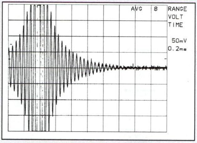 Fig.l. Risposta impulsiva del Copland CDA189 amplificata fino ai limiti strumentali di rumore per evidenziare la lunghezza tempo rale del filtro digitale.