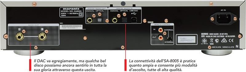 Il pannello posteriore dell'SA-8005: oltre alle uscite analogiche a sinistra, ben distanziate e con connettori di buona qualità, da osservare la completa dotazione per la conversione in ingresso (USB-B per PC, comprensiva anche di file codificati DSD oltre ai consueti formati 24/192; elettrico coassiale RCA; ottico TosLink) e quella di uscita (ottico ed elettrico coassiale RCA). Il telaio è rinforzato con un fondo a doppio strato.