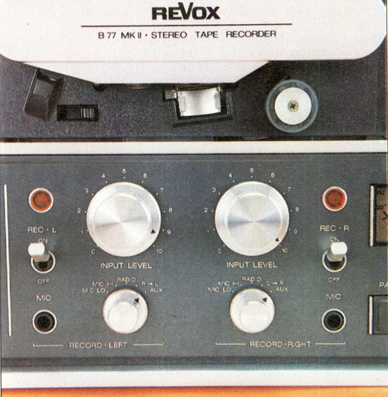 """Al centro, ) sotto il gruppo testine sono raggruppali i controlli di registrazione: commutatori degli ingressi, attenuatori di ingresso, ingressi microfono e selettori di """"sicura"""" con spia luminosa di registrazione attivata."""