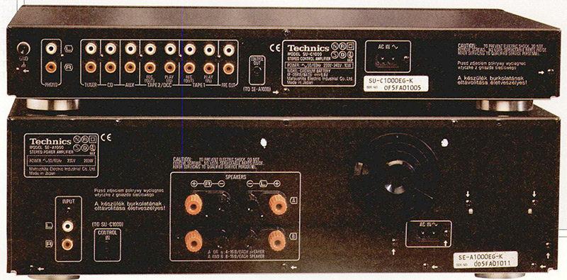 Il pannello posteriore comprende i normali connettori pin RCA dorati, relativi agli ingressi selezionatili, l'uscita per il finale ed una presa per comandare il controllo remoto. Sul pannello posteriore del finale troviamo i morsetti di uscita, per le due coppie di sistemi collegabili, ed i connettori di ingresso di tipo pin RCA dorati. Da notare la ventola di raffreddamento, attivata solo in caso di necessità.