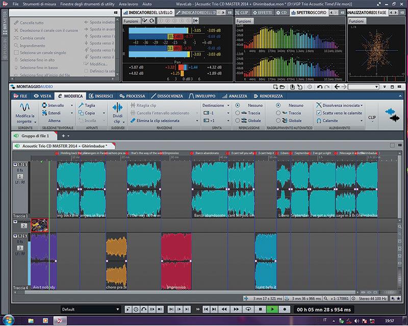 La finestra di Montaggio Audio.