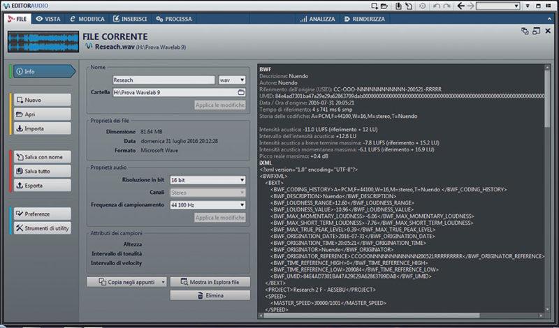 La finestra File alla voce Info: le proprietà audio possono essere modificate direttamente dai campi di questa finestra.