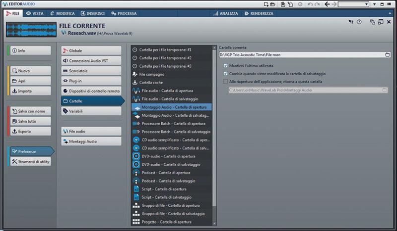 La finestra File alla voce Preferenze: una singola finestra per operare su voci che prima trovavamo sparse in diversi menu a tendina e in varie pagine del programma.