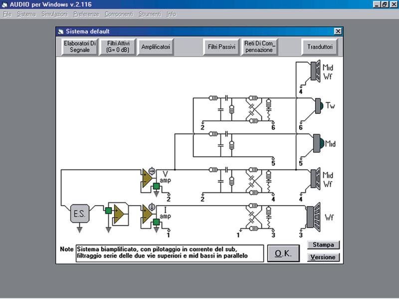 Come già WinCross, AUDIO per Windows rappresenta il sistema di riproduzione nel suo insieme, ovvero in termini di quel che può esistere a valle del preamplificatore (o della sorgente). Qui però possiamo mettere gli altoparlanti in serie od in parallelo, od in configurazioni miste, e lo stesso vale per i crossover passivi, che pure possono essere specificamente calcolati e simulati per operare in serie.