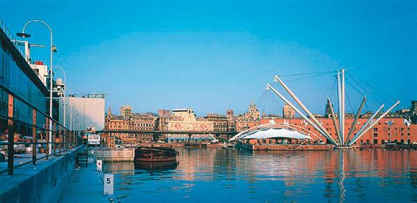 """Figura 8 - Vista generale del porto di Genova con la struttura del """"Bigo""""."""
