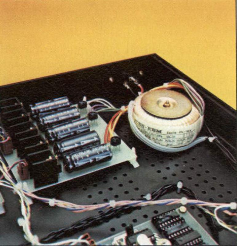 Particolare della sezione di alimentazione con il trasformatore toroidale a basso flusso disperso.