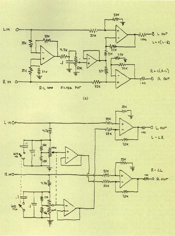 Circuiti per V«equalizzazione spaziale» di normali registrazioni commerciali proposti da Griesinger (29). Il circuito «a» esalta le componenti di bassa frequenza della differenza canali; il circuito «b» opera anche una attenuazione della somma canali. Originali autografi dell'autore da AES Journal, Voi. 34, n. 4, aprile 1966.