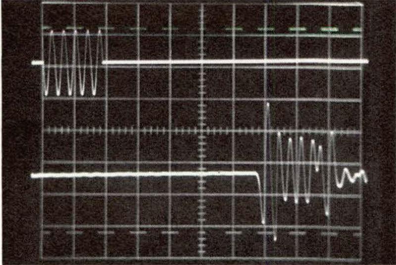 Figura 8 - Risposta al tone burst del sistema di altoparlanti di figura 3. Traccia superiore: segnale in ingresso: burst composto di cinque sinusoidi a frequenza 6 kHz, ampiezza 5,6 Vpp. Traccia inferiore: segnale restituito dal microfono di misura B&K 4133. Siamo qui alla seconda frequenza di notch: il ritardo tra le due emissioni, perfettamente riconoscibile, è di tre mezze lunghezze d'onda.
