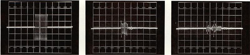 Figura 9 - Queste riprese illustrano la differenza di comportamento tra il microfono a pressione B&K 4133 ed una capsula microfonica, di basso costo, a caratteristica polare cardioide. Le due capsule microfoniche sono state posizionate a breve distanza luna dall'altra, e di fronte ad esse è stato sistemato un altoparlante alimentato con tane burst. Nella prima foto vediamo il segnale inviato all'altoparlante, consistente in un burst di 10 sinusoidi a 11,5 kHz circa. Nella seconda troviamo la risposta del microfono B&K e nella terza la risposta, allo stesso burst, del microfono cardioide, con l'asse orientato nello stesso verso della sorgente (in queste ultime due riprese la scala dei tempi sull'oscilloscopio è cambiata). A questa frequenza si evidenzia un comportamento del microfono molto simile a quello dei sistemi delle figure precedenti: ne sono causa sia il ritardo con cui la faccia posteriore del diaframma riceve l'onda sonora rispetto a quella anteriore, sia i particolari della struttura meccanica con cui questo ritardo viene ottenuto, che possono aggiungere riflessioni ed altre irregolarità difficili da evitare. Va anche detto che i microfoni unidirezionali tendono in genere a peggiorare le loro caratteristiche direttive agli estremi della gamma audio: una presentazione migliore sotto questo aspetto è possibile e va considerata indicativa di una qualità superiore. Entrambi i microfoni in esame mettono in evidenza un altro problema, restituendo una coda di sinusoidi attenuata: si tratta di una riflessione sul braccio che li sostiene, come rivelato dal tempo di ritardo (1,4 ms), e dalle distanze in gioco (24 cm).