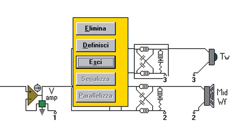 Fig.2. Eseguendo un click con il tasto sinistro del mouse su di un blocco funzionale appare la minifinestra delle opzioni. Il tasto destro attiva invece direttamente il quadro di definizione del blocco.