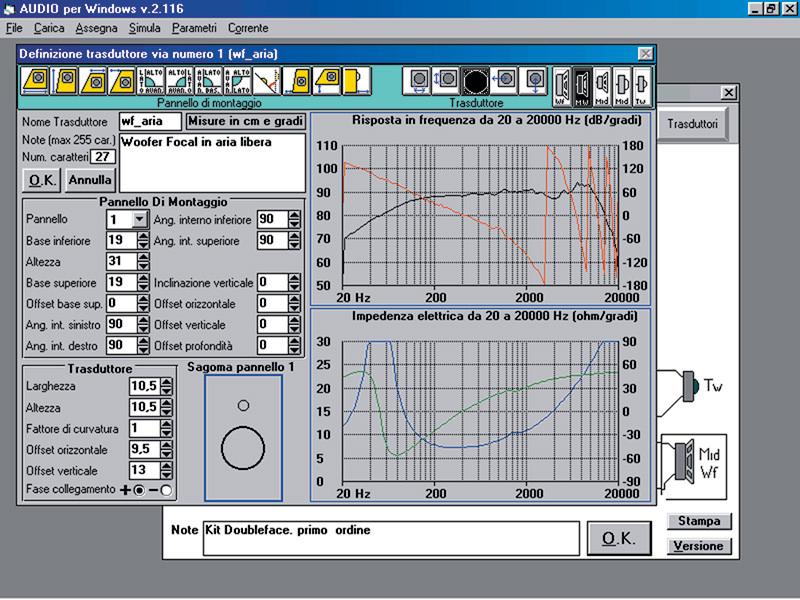 Fig.3. La finestra di definizione dei trasduttori. Come si vede, a differenza di WinCross i menù a tendina che le sono propri si sostituiscono ai menù generali del programma (e lo stesso avviene per la finestra degli elaboratori di segnale).