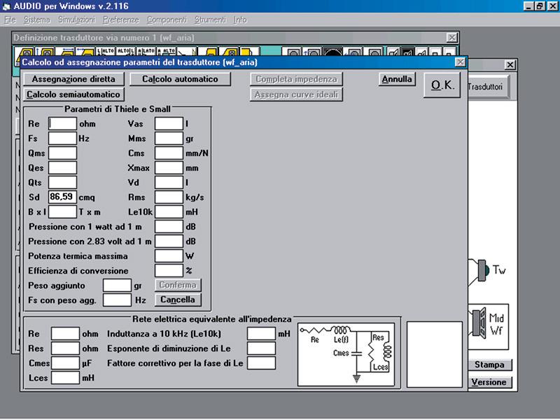 Fig-4. La finestra di inserimento/calcolo dei parametri di Thiele e Small e dei parametri descrittivi delle impedenze non lineari, come si presenta quando i parametri ancora non sono noti (eccezion fatta ovviamente per la superficie di emissione, che viene intrinsecamente definita a livello della finestra dei trasduttori).