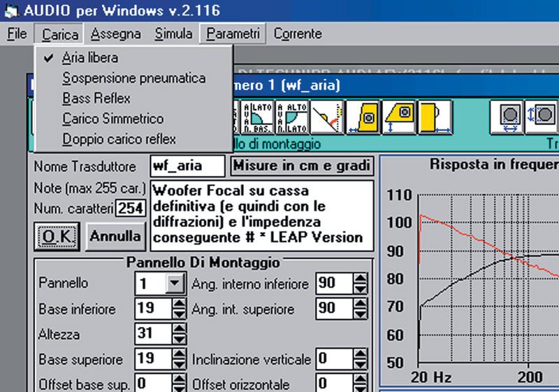 Fig.6. Le opzioni di caricamento acustico, che si rendono disponibili appena noti i parametri di Thiele e Small.