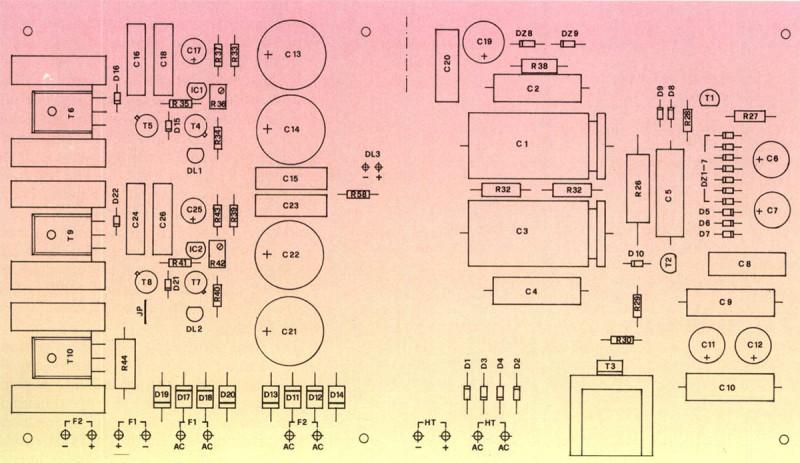 Scheda alimentazione: attenzione alla disposizione dei componenti: i transistori T6, T9 e T10, con i relativi dissipatori, andranno fissati al circuito stampato tramite le apposite viti.