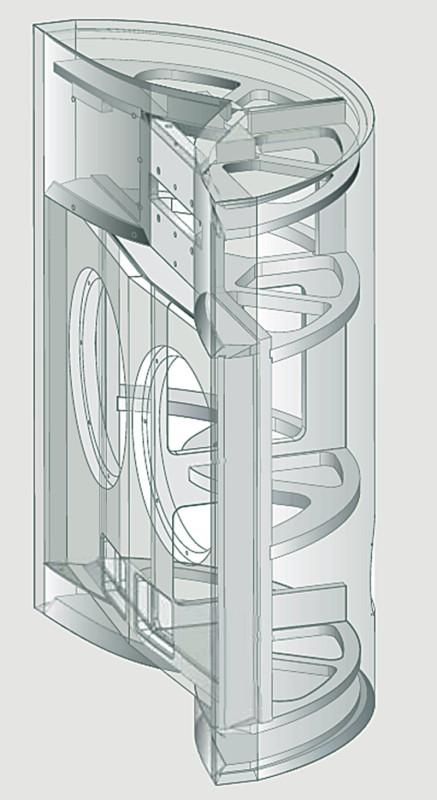 Il mobile è realizzato in MDF di elevato spessore. Notare il numero e la forma dei rinforzi interni, e la complessità della struttura.