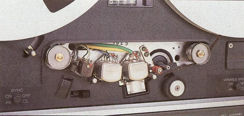 Gruppo testine del B77. Poiché la macchina è a 9.5' 19 cm, s. il capstan ha un diamelr alla metà di quello del PR99 a 19/38 cm/s.