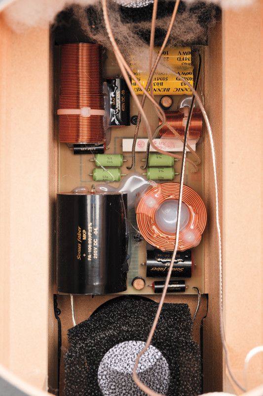 Il filtro crossover sistemato all'interno del cabinet. Notare il pregio e la pulizia della realizzazione.