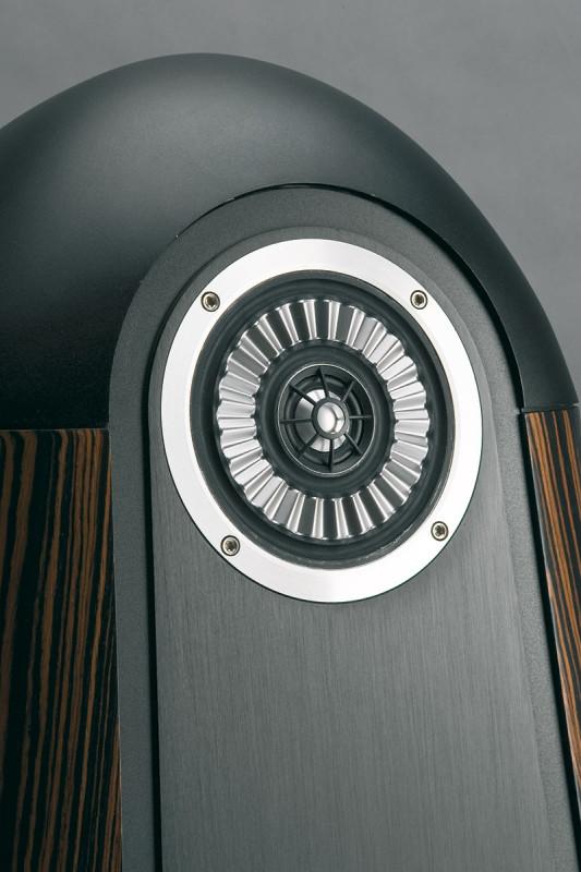 L'unità medioalti è sistemata all'apice del diffusore. Notare la pesante calotta di alluminio sistemata in alto a chiusura del pannello frontale