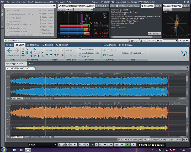 La pagina principale di Editor Audio con la visualizzazione della forma d'onda in modalità Mid-Side (colore senape e giallo)  e stereo (in azzurro).