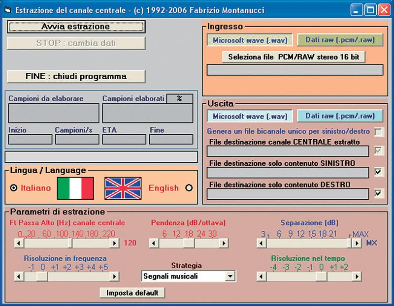 Figura 8. Interfaccia del prototipo del programma di estrazione.