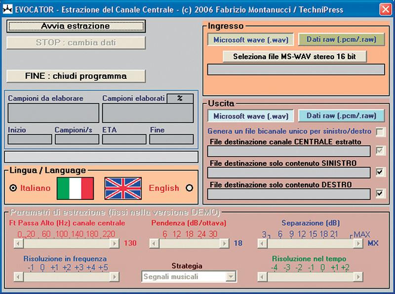 Figura 1. Schermata del demo gratuito di Evocator, disponibile per il download sui nostri siti www.audioreview.it e www.audiocarstereo.it