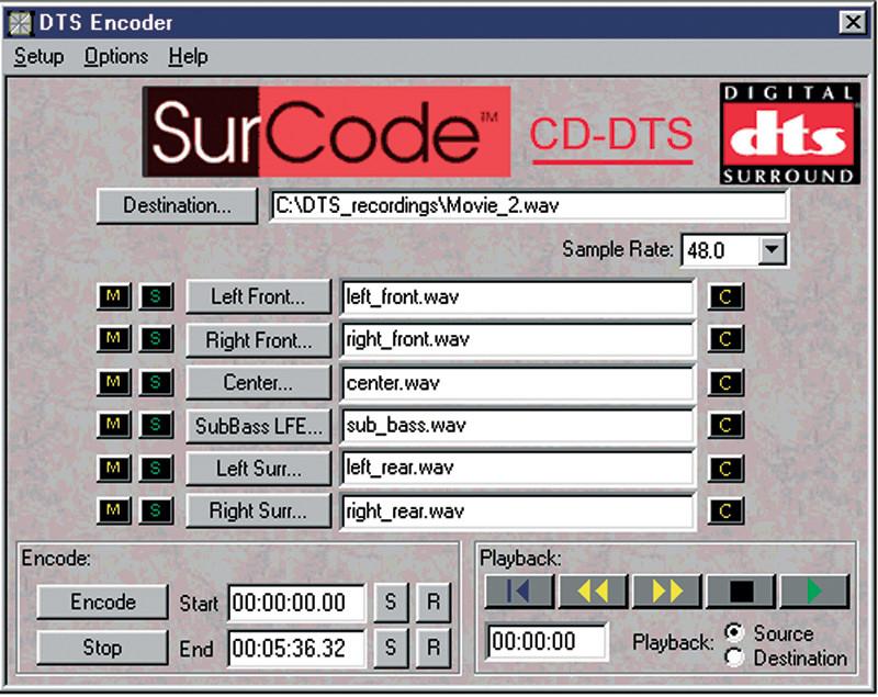 Figura 9. Il programma di codifica DTS software per la realizzazione di CD DTS multicanale.
