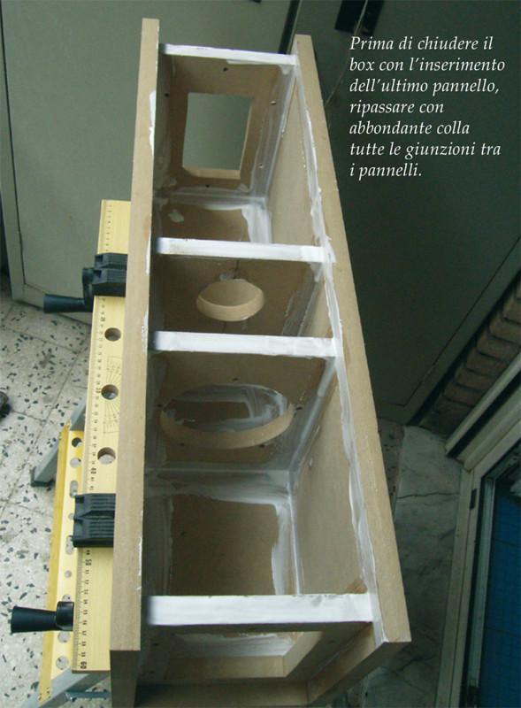 Prima di chiudere il box con l'inserimento dell'ultimo pannello, ripassare con abbondante colla tutte le giunzioni tra i pannelli.