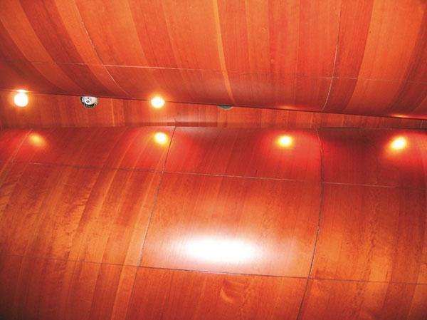 """Figura 6 - Nella sala grande si comincia a notare il disallineamento e, in qualche punto, il distacco dei rivestimenti lignei (in impiallacciatura) sulle """"vele"""" (gusci) in vetroresina."""