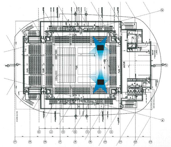 Figura 10 - La sala Sinopoli (media) è flessibile e permette di conformare l'ambiente come un teatro o come un'arena, passando da un assetto assiale a quello centrale; con le sue due gallerie laterali assume una conformazione volumetrica che tende al cubico.