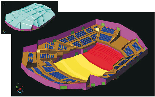 """Modello CAD del """"carapace"""" della sala Santa Cecilia."""