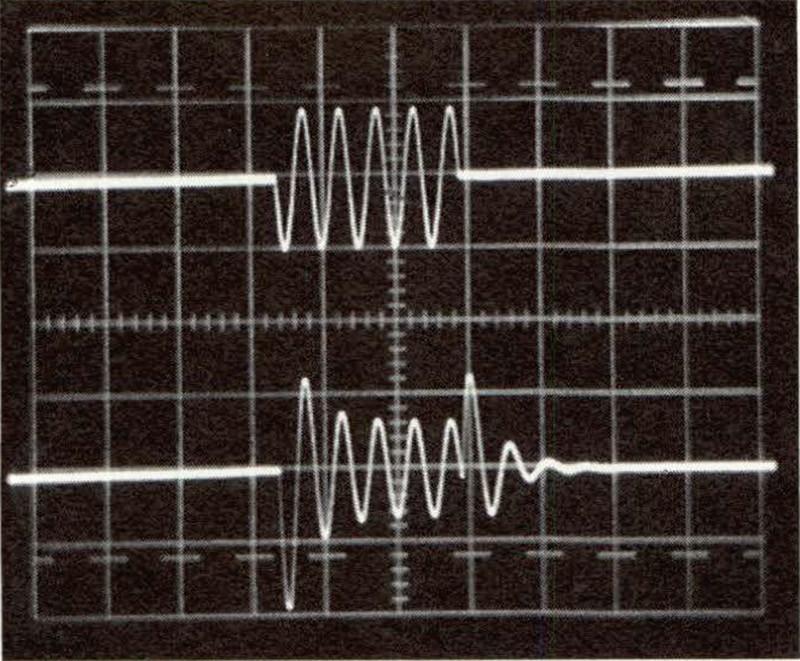 Figura 6 - Risposta al tone burst del filtro passivo di figura 2. Traccia superiore: segnale in ingresso: burst composto di cinque sinusoi di a frequenza 2 kHz, ampiezza 1,4 Vpp. Traccia inferiore: segnale in uscita. Evidente l'analogia con il caso di figura 5, in particola re l'inizio in opposizione di fase della sesta sinusoide della risposta.