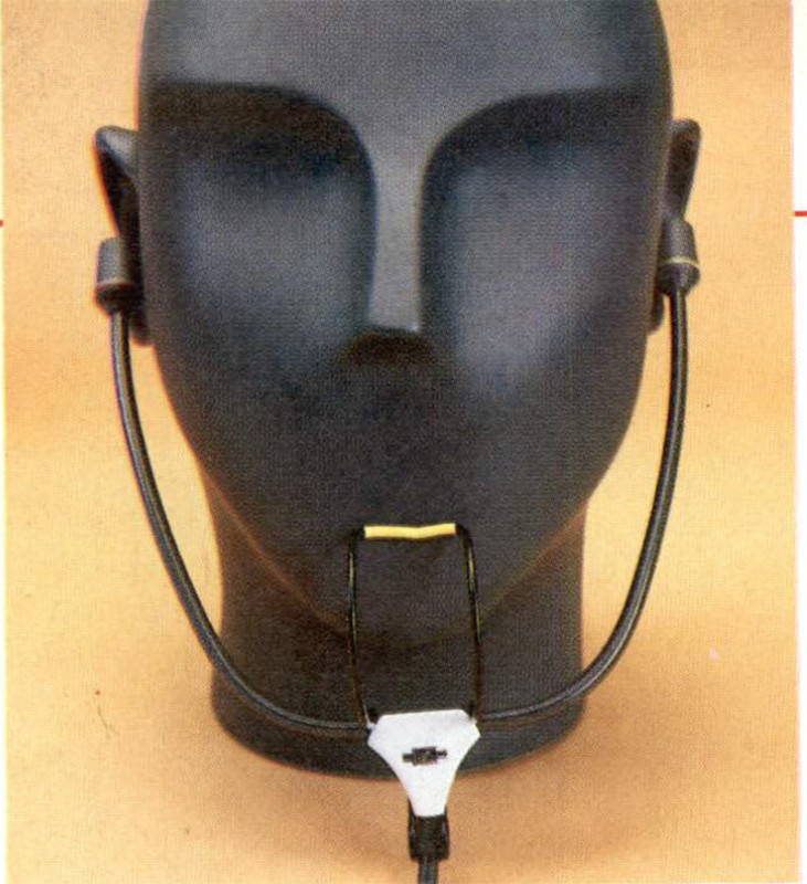 Microfono bìnaurale Sennheiser MKE 2002 montalo su testa artificiale. I risultati migliori si hanno però «indossandolo» su di una vera testa umana.