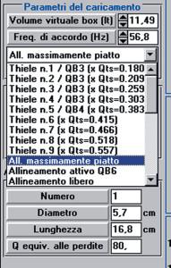 Figura 2. Opzioni di dimensionamento diretto dell'allineamento reflex previste da AUDIO per Windows.