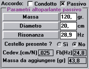 Figura 3. // subpannello per l'inserimento dei dati del passivo e per la visualizzazione dei risultati ottenuti in termini di cedevolezza, risonanza e massa da aggiungere per ottenere Vaccordo prescelto.