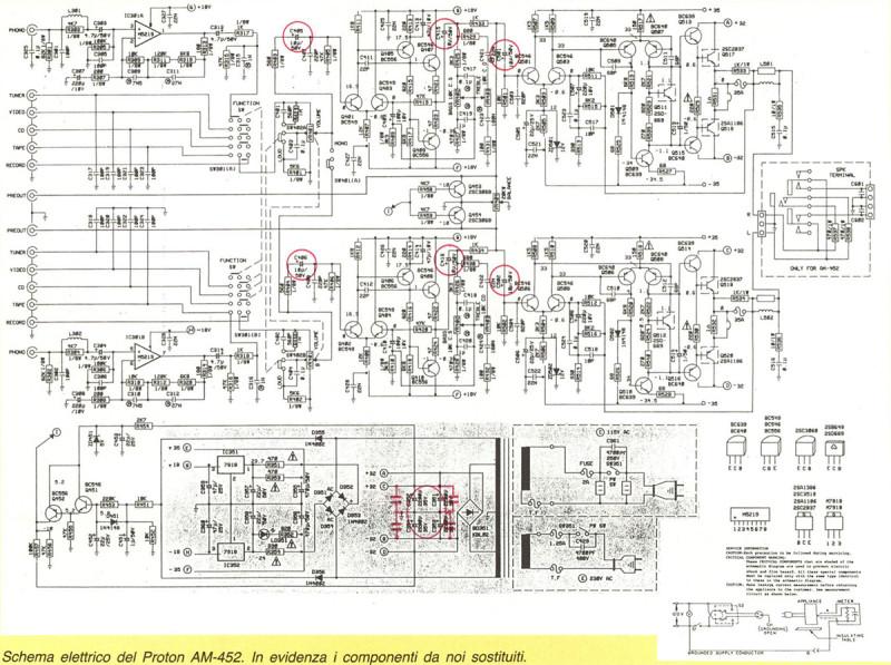 Schema elettrico del Proton AM-452. In evidenza i componenti da noi sostituiti.