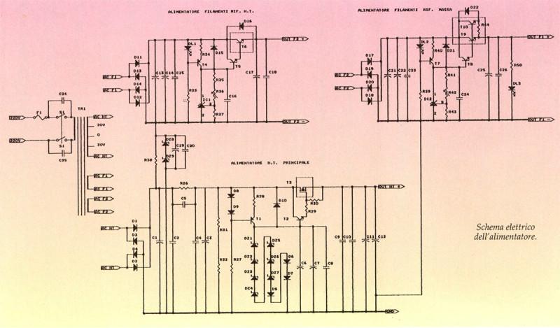 Schema elettrico dell'alimentatore