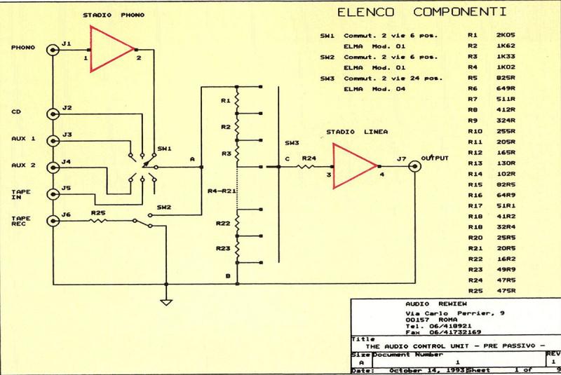Figura 2 - Schema elettrico semplificato del preamplificatore passivo.