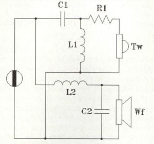 Figura 1 - Classico crossover parallelo per sistema due vie pilotato in tensione.
