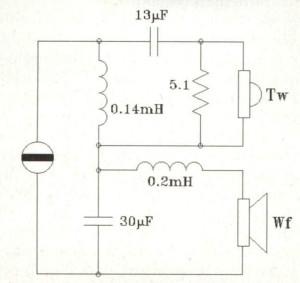 Figura 2 - Crossover serie per sistema due vie pilotato in corrente.