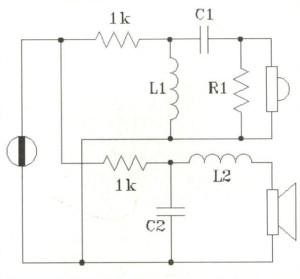 Figura 3 - Escamotage circuitale che consente la simulazione al computer di un sistema pilotato in corrente con crossover serie, qualora sia possibile simulare soltanto dei crossover parallelo e/o generatori di tensione. Con questo trucco qualunque programma pensato per il pilotaggio in tensione e i filtri parallelo va bene.