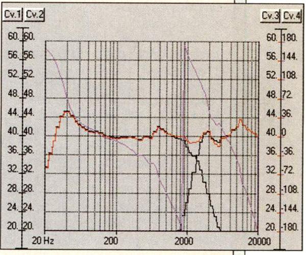 Figura 10 - Risposta in frequenza del sistema simulato, con le risposte delle singole vie e l'andamento della fase.