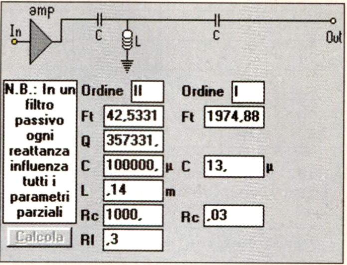 Figura 8 - Definizione del filtro passivo del tweeter. Il condensatore a sinistra ha un valore fittizio, la sua resistenza serie (1000 ohm) serve ad attuare il trucco mostrato in fig. 3.